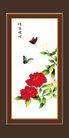梅兰竹菊0033,梅兰竹菊,中国古典画,晴春蝶戏 两只蝴蝶 大红花