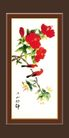 梅兰竹菊0036,梅兰竹菊,中国古典画,中国画 黑色框 绿叶红花