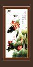 梅兰竹菊0041,梅兰竹菊,中国古典画,燕子 飞舞 荷花池