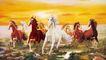 经典古画0031,经典古画,中国古典画,白骏马 草原 火烧云