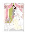 婚纱0036,婚纱,韩国花纹Ⅲ,眼镜男 女子左侧面 粉色窗帘