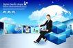 幻彩商务0071,幻彩商务,韩国花纹Ⅲ,抽象地球构图 女白领 手拿笔记本电脑