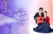 情谊物语0036,情谊物语,韩国花纹Ⅲ,韩国情侣 半蹲 手拿礼物