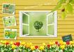 景物静物0153,景物静物,韩国花纹Ⅲ,花草 树叶 窗户