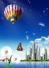 景物静物0172,景物静物,韩国花纹Ⅲ,气球 蝴蝶 城市