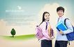 校园书生毕业生0020,校园书生毕业生,韩国花纹Ⅲ,书包 牛仔群 书本