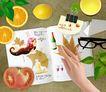 生活手姿0031,生活手姿,韩国花纹Ⅲ,柠檬 西红柿 黑框眼镜