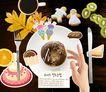 生活手姿0033,生活手姿,韩国花纹Ⅲ,巧克力蛋糕 刀叉 纸条