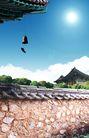 笔刷墨染古典图0089,笔刷墨染古典图,韩国花纹Ⅲ,围墙  铃铛 屋檐
