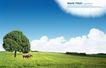 笔刷墨染古典图0100,笔刷墨染古典图,韩国花纹Ⅲ,大树 牛 白云