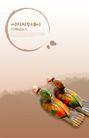 笔刷墨染古典图0106,笔刷墨染古典图,韩国花纹Ⅲ,彩色 鸳鸯 浮水