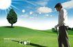 高尔夫0009,高尔夫,韩国花纹Ⅲ,坡顶 小树 生长