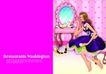 插画0054,插画,版式设计,化妆台 连衣裙 镜子