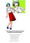 插画0069,插画,版式设计,红裙 蓝鞋 绿景
