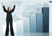金融0011,金融,版式设计,黑衣女人 举起手 指数 地球版图 上升数据