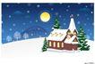 其他0028,其他,节日喜庆,下雪 月亮 房屋