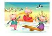 猪年0045,猪年,节日喜庆,小猪 翘翘板 玩耍