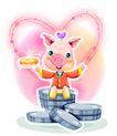 猪年0063,猪年,节日喜庆,心形 漂亮猪 金币