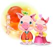 猪年0072,猪年,节日喜庆,贺新年 可爱造型 小猪夫妻