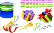 礼物0015,礼物,节日喜庆,彩色蜡烛 礼物 彩带