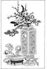 竹子荷花植物0032,竹子荷花植物,节日喜庆,两个花盆 梅花枝 长青树枝