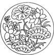 竹子荷花植物0035,竹子荷花植物,节日喜庆,圆形 蝴蝶 含苞待放的荷花