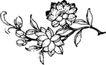 竹子荷花植物0037,竹子荷花植物,节日喜庆,花枝 黑白画 花