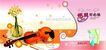 古典中国0089,古典中国,精品广告设计,小提琴  花瓶  鲜花
