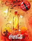 饮料0061,饮料,精品广告设计,红色 蝴蝶 可口可乐