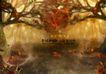 浪漫柔情模板30080,浪漫柔情模板3,浪漫柔情模板,秋的构图 纠缠树木 飘落枯叶