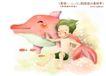 儿童友谊0035,儿童友谊,人物,海豚 小鱼 穿泳衣的男孩