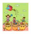 儿童学校0006,儿童学校,人物,洒水 小苗 成长