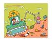 儿童学校0014,儿童学校,人物,栽种 挖掘机 小狗