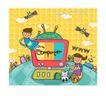 儿童学校0029,儿童学校,人物,飞翔 宠物 玩伴