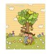 儿童学校0031,儿童学校,人物,小鸡 草坪野花 大树下看书