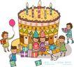 儿童学校0033,儿童学校,人物,斑点小狗 生日蛋糕 一群小朋友