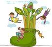 儿童学校0034,儿童学校,人物,英文字母 三个小朋友 大鞋子