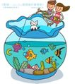 儿童学校0037,儿童学校,人物,小白猫 鱼缸 金鱼