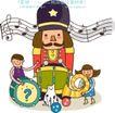儿童学校0039,儿童学校,人物,大号 打鼓 五线谱