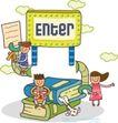 儿童学校0040,儿童学校,人物,数字屏幕 坐在地上的狗  书本