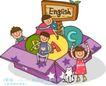 儿童学校0043,儿童学校,人物,打开 纸盒 欢笑