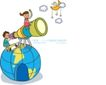 儿童学校0045,儿童学校,人物,太空 望远镜 观察