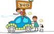 儿童学校0050,儿童学校,人物,小车 堆动 车顶
