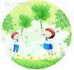 儿童校园生活0007,儿童校园生活,人物,手握 嫩草 小学生