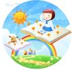 儿童校园生活0008,儿童校园生活,人物,彩虹 太阳 笑脸