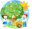 儿童校园生活0010,儿童校园生活,人物,大树 健壮 堆车