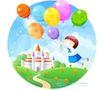 儿童校园生活0012,儿童校园生活,人物,气球 飞翔 城堡