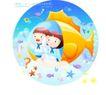 儿童校园生活0013,儿童校园生活,人物,海鱼 潜水 问号