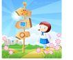儿童校园生活0023,儿童校园生活,人物,路标 指向 上学
