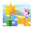 儿童校园生活0026,儿童校园生活,人物,彩虹 太阳 照耀